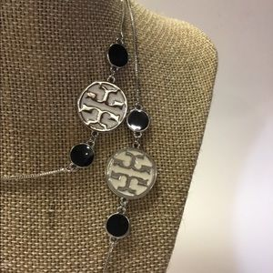 Silver and Black Enamel Disk Necklace